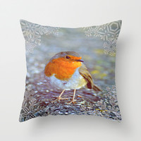 Robin Christmas Throw Pillow by  Alexia Miles photography