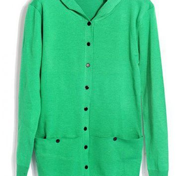 Women  Knitting Green Long Sleeve Hooded Free Size Sweater@A103gr
