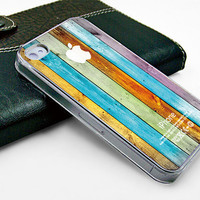 iphone case Iphone case iphone 4 case iphone 4s case transparent  iphone 4 cover beautiful colorized colorized wood texture design printing