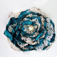 Teal Blue Flower with lace Accessory | Our Place To Nest