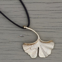 Leaf Necklace : Matte Gold Plated Large Textured Leaf Charm Necklace, Attached to Chocolate Brown Leather Cord, Adjustable, Feather, Natural