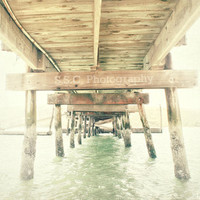 "Old Pier photo. Dock photo. nautical. sea. ocean. water. pale. blue. gray. tan. wooden. vintage. fisherman. 8.5x11. ""Under"""