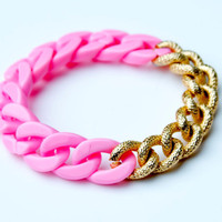 Bright Pink Plastic and Metal Chain Bracelet