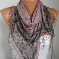 ON SALE -Summer Scarf Shawl - Cotton Weddings Scarves - Cowl with Lace Edge  - Bazaar