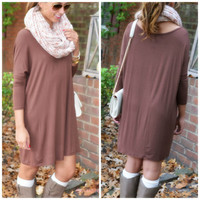 Heaven's Bliss Brown Quarter Sleeve Solid Dress