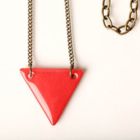 Triangle Necklace in Red Hot