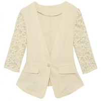 Women Polyester V-Neck Middle-Long Lace Sleeve Top White Suit S/M/L @MF6801w