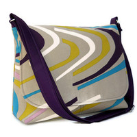 Canvas Messenger Bag - IKEA Cotton Malin Vag in Eggplant and Tan