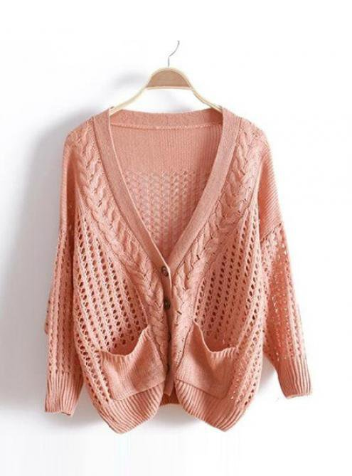 Pink V Neck Bat Loose Sweater$40.00