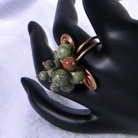 Adjustable Green Natural Stone Agate Bead and Copper Fashion Ring