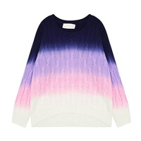 Woman's Gradient Stripe Pattern Round Neck Sweater 080802