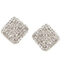 Silver Rhinestone Square Stud Earrings