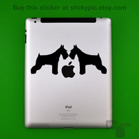 iPad Schnauzer duo Laptop Decal Removable Vinyl by stickypic