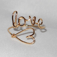 "LOVE  Ring or "" NAME "" ring with HEART..... handcrafted in 14kt gold filled wire"