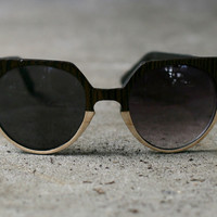 Sunglasses - Bright Night - Ebony and Poplar Two-Tone Wood Veneer Sunglasses by Tumbleweeds Handcraft