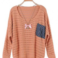 Orange Loose Pullover Pocket Sweater$42.00