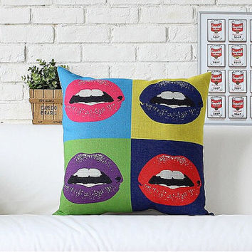 "Sexy Lips Beauty - Design For Pillow Cases Linen 18"" x 18"" inches by RaffPeez"