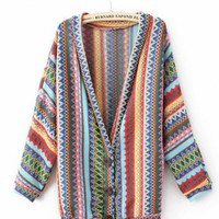 Green Long Sleeve V-neck Mayan Tribal Style Cardigan$42.00