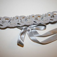 BARONESS Platnium Trim and Silk Garter by MiaVonMinksWedding
