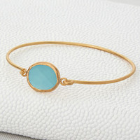 Gold And Aqua Chalcedonay Opening Bangle