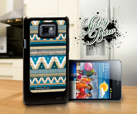 Samsung Galaxy S2 Hard Case - Aztec Blue Wood Hipster Tribal  - Phone Cover