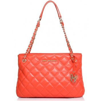 Greg Michaels Claudia Chain Orange Quilted Nappa Real Leather Shoulder Tote