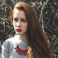 B|R - Black and Red Statement Corals Stone Necklace by Pardes