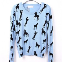 Blue Pony Knit TopS$38.00