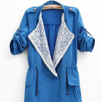 Sleeve Badges Lace Three Quarter Sleeve Jacket$46.00