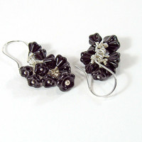 Black Flower Cluster Earrings, Sterling Silver, Handmade