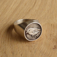 Silver Seal Ring - Bird Ring