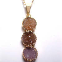 Druzy Necklace - Vertical - 3 Round Drop - Multi Color Circle Cascade
