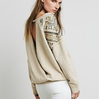 Free People Womens Embellished Twist Back Pullover - Wheat