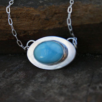 Larimar pendant necklace. Sterling silver and blue larimar pendant with sterling silver chain. Handmade, one of a kind, unique.