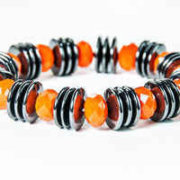Black and Orange Halloween Bracelet Autumn Halloween Jewelry