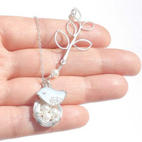 Bird Nest Necklace - Three swarovski crystal pearl Eggs Nest - STERLING SILVER CHAIN - Bridal Bridesmaid Necklace