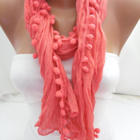 Hot Pink Pompom Shawl/Scarf - Headband Necklace