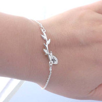 One initial leaf, branch bracelet-Bridesmaid,bestfriend,Wife,Girlfriend, Mothers Gift--simple everyday jewelry