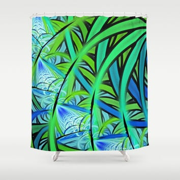 Jungle Waterfall Shower Curtain by Lyle Hatch