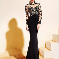 [USD $ 179.99] Trumpet/Mermaid Bateau Sweep/Brush Train Jersey And Tulle Evening Dress (1846390)