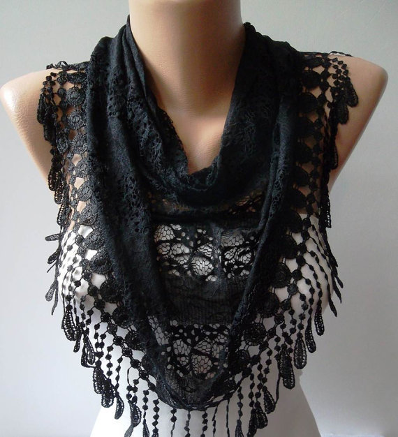 Black Shawl / Scarf with Black Trim Edge - Lace Fabric