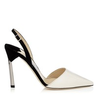 Off White Patent and Black Suede Pointy Toe Sling Backs with Metallic Heel   Devleen   Cruise 15   JIMMY CHOO Shoes