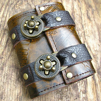 Leather Steampunk Credit Card Wristband Wallet for Women and Men - Distressed Brown