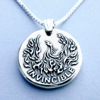INVINCIBLE, Phoenix bird, Sterling Silver Necklace, Phenix necklace, Jewelry for men and women