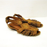 Size 6 Brown Leather GEOMETRIC Woven Sandals T strap Huaraches - Vintage Womens Shoes