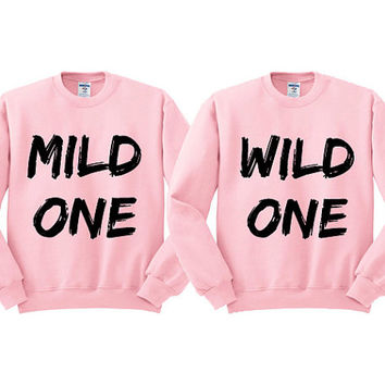 Pink Crewneck Mild One Wild One Best Friends Sweatshirt Sweater Jumper Pullover