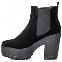 Buy SEDUCTIVE Heeled Cleatde Sole Chelsea Ankle Boots Black Suede Style Online
