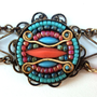 Bracelet, Coral, Neon, Tribal, Gypsy, Mosaic, Turquoise