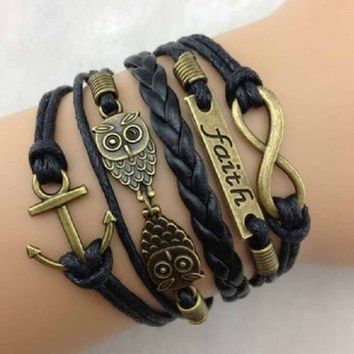 Pooqdo (TM) Hot Vintage Antique Bronze Anchor Rudder Owl Charms Leather Rope Bracelet Wristband