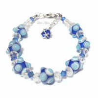 Blue ornament lampwork glass beads crystals bracelet christmas jewelry